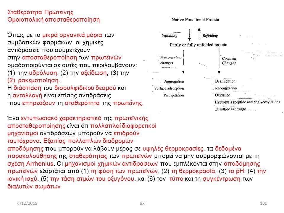 4/12/2015ΔΧ Σταθερότητα Πρωτεΐνης Ομοιοπολική αποσταθεροποίηση Όπως με τα μικρά οργανικά μόρια των συμβατικών φαρμάκων, οι χημικές αντιδράσεις που συμμετέχουν στην αποσταθεροποίηση των πρωτεϊνών ομαδοποιούνται σε αυτές που περιλαμβάνουν: (1)την υδρόλυση, (2) την οξείδωση, (3) την (2)ρακεμοποίηση.
