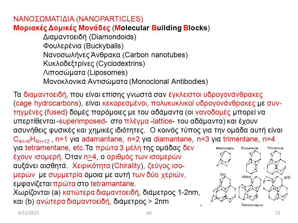 iso anti skew ΝΑΝΟΣΩΜΑΤΙΔΙΑ (ΝΑΝΟPARTICLES) Μοριακές Δομικές Μονάδες (Molecular Building Blocks) Διαμαντοειδή (Diamondoids) Φουλερένια (Buckyballs) Νανοσωλήνες Άνθρακα (Carbon nanotubes) Κυκλοδεξτρίνες (Cyclodextrins) Λιποσώματα (Liposomes) Μονοκλονικά Αντισώματα (Monoclonal Antibodies) Τα διαμαντοειδή, που είναι επίσης γνωστά σαν έγκλειστοι υδρογονάνθρακες (cage hydrocarbons), είναι κεκορεσμένοι, πολυκυκλικοί υδρογονάνθρακες με συν- τηγμένες (fused) δομές παρόμοιες με του αδάμαντα (οι νανοδομές μπορεί να υπερτίθενται -superimposed- στο πλέγμα -lattice- του αδάμαντα) και έχουν ασυνήθεις φυσικές και χημικές ιδιότητες.