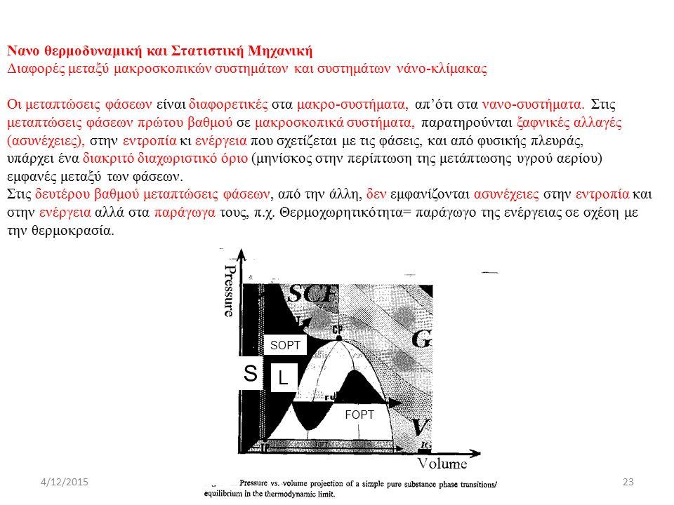 4/12/2015ΔΧ SOPT FOPT S Nανο θερμοδυναμική και Στατιστική Μηχανική Διαφορές μεταξύ μακροσκοπικών συστημάτων και συστημάτων νάνο-κλίμακας Οι μεταπτώσεις φάσεων είναι διαφορετικές στα μακρο-συστήματα, απ'ότι στα νανο-συστήματα.