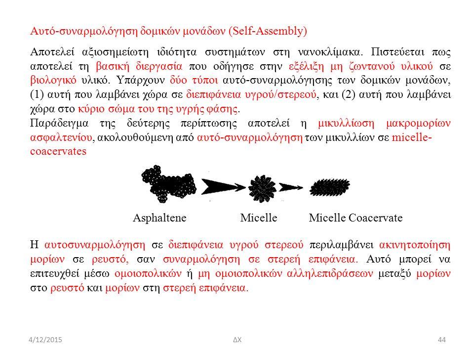 4/12/2015ΔΧ Αυτό-συναρμολόγηση δομικών μονάδων (Self-Assembly) Αποτελεί αξιοσημείωτη ιδιότητα συστημάτων στη νανοκλίμακα.