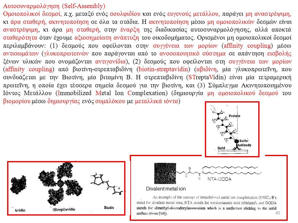 4/12/2015ΔΧ Αυτοσυναρμολόγηση (Self-Assembly) Ομοιοπολικοί δεσμοί, π.χ.