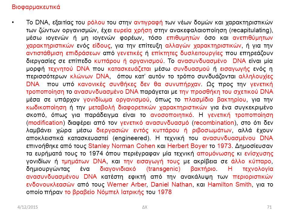 4/12/2015ΔΧ Βιοφαρμακευτικά Το DNA, εξαιτίας του ρόλου του στην αντιγραφή των νέων δομών και χαρακτηριστικών των ζώντων οργανισμών, έχει ευρεία χρήση στην ανακεφαλαιοποίηση (recapitulating), μέσω ιογενών ή μη ιογενών φορέων, τόσο επιθυμητών όσο και ανεπιθύμητων χαρακτηριστικών ενός είδους, για την επίτευξη αλλαγών χαρακτηριστικών, ή για την αντιστάθμιση επιδράσεων από γενετικές ή επίκτητες δυσλειτουργίες που επηρεάζουν διεργασίες σε επίπεδο κυττάρου ή οργανισμού.