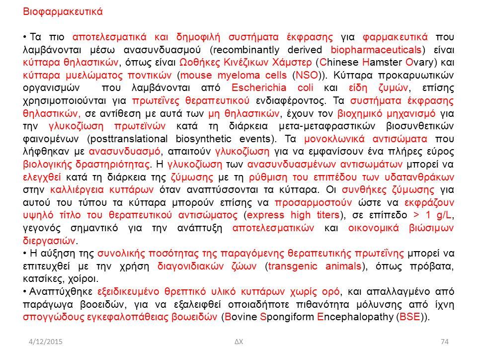 4/12/2015ΔΧ Βιοφαρμακευτικά Τα πιο αποτελεσματικά και δημοφιλή συστήματα έκφρασης για φαρμακευτικά που λαμβάνονται μέσω ανασυνδυασμού (recombinantly derived biopharmaceuticals) είναι κύτταρα θηλαστικών, όπως είναι Ωοθήκες Κινέζικων Χάμστερ (Chinese Hamster Ovary) και κύτταρα μυελώματος ποντικών (mouse myeloma cells (NSO)).