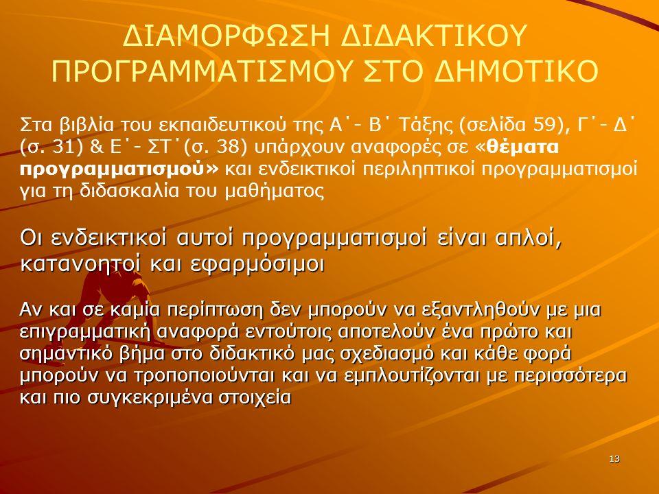 13 ΔΙΑΜΟΡΦΩΣΗ ΔΙΔΑΚΤΙΚΟΥ ΠΡΟΓΡΑΜΜΑΤΙΣΜΟΥ ΣΤΟ ΔΗΜΟΤΙΚΟ Στα βιβλία του εκπαιδευτικού της Α΄- Β΄ Τάξης (σελίδα 59), Γ΄- Δ΄ (σ. 31) & Ε΄- ΣΤ΄(σ. 38) υπάρχ