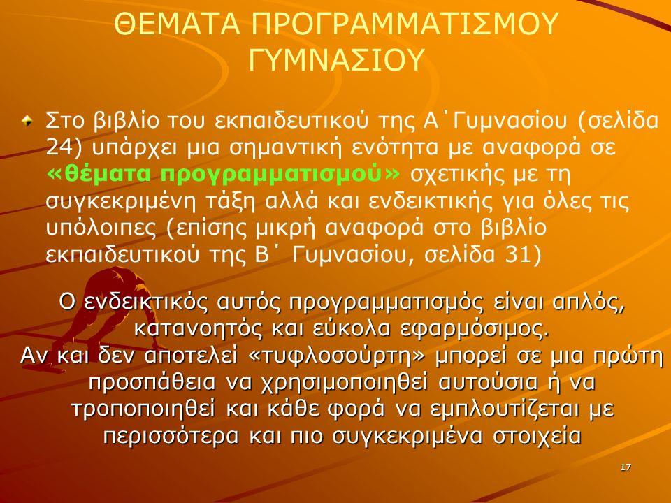 17 ΘΕΜΑΤΑ ΠΡΟΓΡΑΜΜΑΤΙΣΜΟΥ ΓΥΜΝΑΣΙΟΥ Στο βιβλίο του εκπαιδευτικού της Α΄Γυμνασίου (σελίδα 24) υπάρχει μια σημαντική ενότητα με αναφορά σε «θέματα προγρ