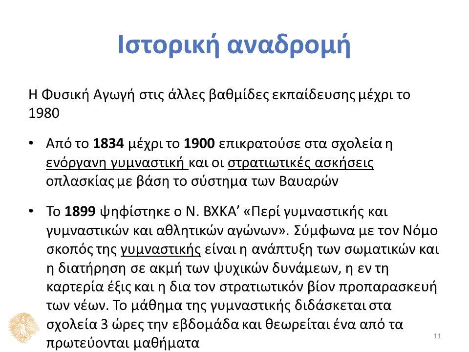 Ιστορική αναδρομή Η Φυσική Αγωγή στις άλλες βαθμίδες εκπαίδευσης μέχρι το 1980 Από το 1834 μέχρι το 1900 επικρατούσε στα σχολεία η ενόργανη γυμναστική