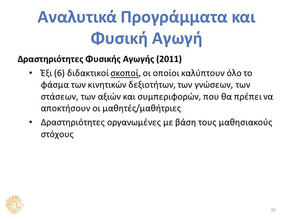 Αναλυτικά Προγράμματα και Φυσική Αγωγή Δραστηριότητες Φυσικής Αγωγής (2011) Έξι (6) διδακτικοί σκοποί, οι οποίοι καλύπτουν όλο το φάσμα των κινητικών