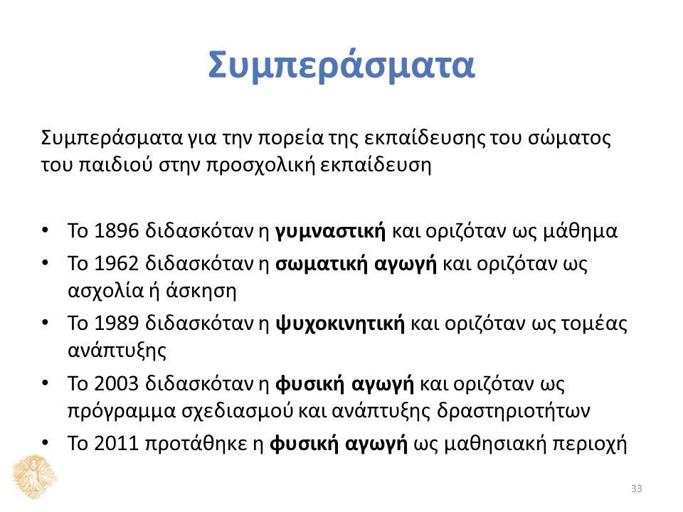 Τέλος ενότητας Μέθοδοι εκπαίδευσης του σώματος στο ελληνικό νηπιαγωγείο