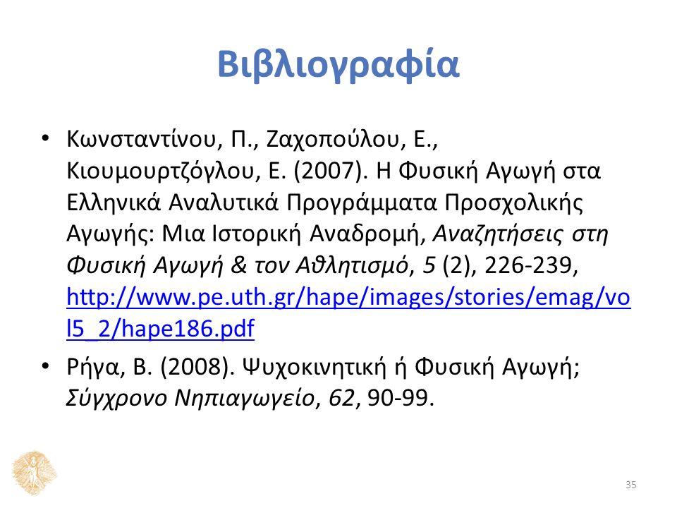 Βιβλιογραφία Κωνσταντίνου, Π., Ζαχοπούλου, Ε., Κιουμουρτζόγλου, Ε. (2007). Η Φυσική Αγωγή στα Ελληνικά Αναλυτικά Προγράμματα Προσχολικής Αγωγής: Μια Ι