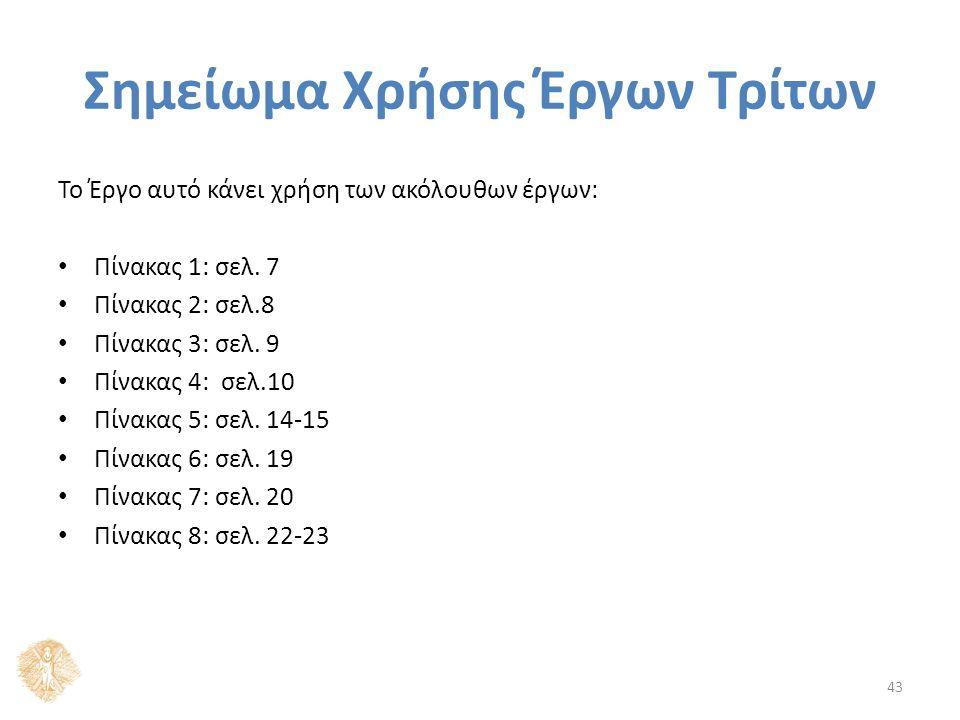 Σημείωμα Χρήσης Έργων Τρίτων Το Έργο αυτό κάνει χρήση των ακόλουθων έργων: Πίνακας 1: σελ. 7 Πίνακας 2: σελ.8 Πίνακας 3: σελ. 9 Πίνακας 4: σελ.10 Πίνα