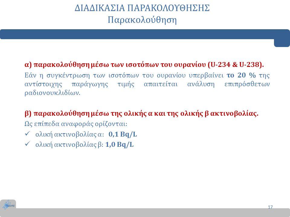 ΔΙΑΔΙΚΑΣΙΑ ΠΑΡΑΚΟΛΟΥΘΗΣΗΣ Παρακολούθηση α) παρακολούθηση μέσω των ισοτόπων του ουρανίου (U-234 & U-238).