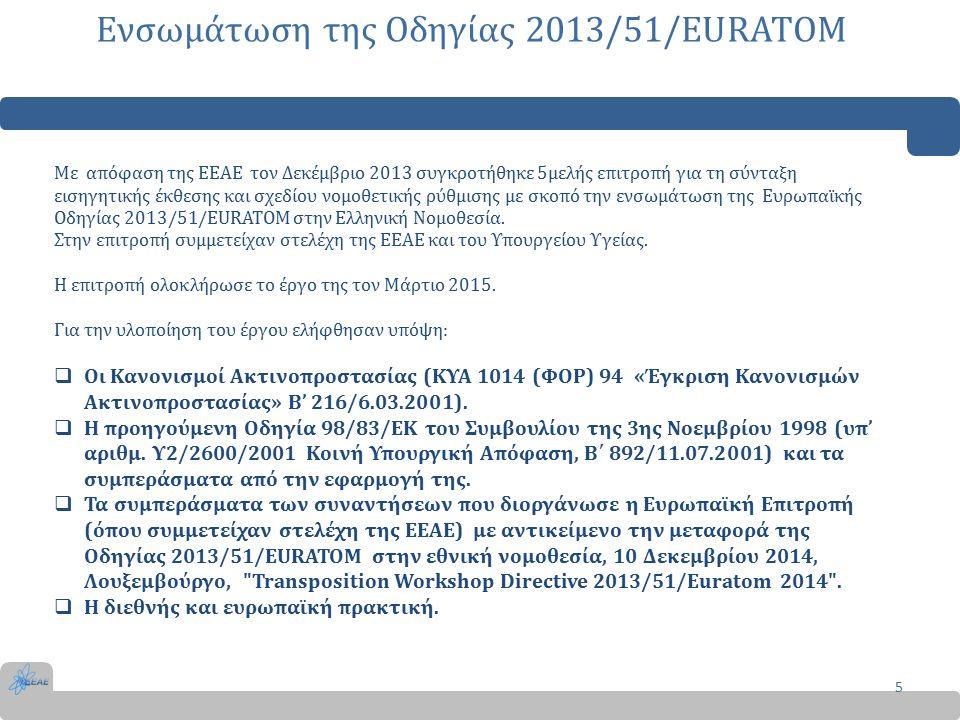 Αντικείμενο και σκοπός 6 Η Ελληνική Νομοθεσία προσαρμόστηκε στην Οδηγία 2013/51/ΕΥΡΑΤΟΜ του Συμβουλίου της 22ας Οκτωβρίου 2013, με την Απόφαση Π/112/1057/2016/1.2.2016 ΚΥΑ, (ΦΕΚ 241/Β/9-2-2016) Στην ΚΥΑ καθορίζονται: οι παράμετροι οι συχνότητες και οι μέθοδοι για την παρακολούθηση των ραδιενεργών ουσιών, οι οποίες περιέχονται στο νερό ανθρώπινης κατανάλωσης.
