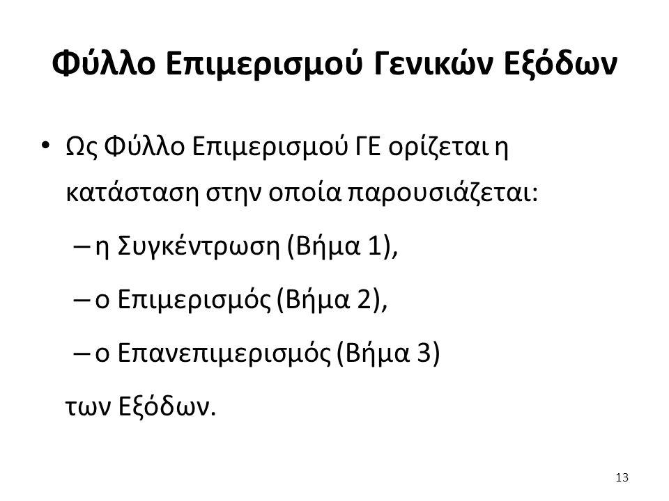Φύλλο Επιμερισμού Γενικών Εξόδων Ως Φύλλο Επιμερισμού ΓΕ ορίζεται η κατάσταση στην οποία παρουσιάζεται: – η Συγκέντρωση (Βήμα 1), – ο Επιμερισμός (Βήμα 2), – ο Επανεπιμερισμός (Βήμα 3) των Εξόδων.