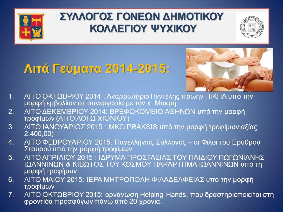 ΣΥΛΛΟΓΟΣ ΓΟΝΕΩΝ ΔΗΜΟΤΙΚΟΥ ΚΟΛΛΕΓΙΟΥ ΨΥΧΙΚΟΥ Λιτά Γεύματα 2014-2015: 1.ΛΙΤΟ ΟΚΤΩΒΡΙΟΥ 2014 : Aναρρωτήριο Πεντέλης πρώην ΠΙΚΠΑ υπό την μορφή εμβολίων σε συνεργασία με τον κ.