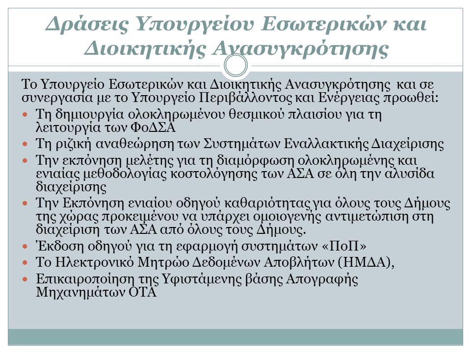 Δράσεις Υπουργείου Εσωτερικών και Διοικητικής Ανασυγκρότησης Το Υπουργείο Εσωτερικών και Διοικητικής Ανασυγκρότησης και σε συνεργασία με το Υπουργείο Περιβάλλοντος και Ενέργειας προωθεί: Τη δημιουργία ολοκληρωμένου θεσμικού πλαισίου για τη λειτουργία των ΦοΔΣΑ Τη ριζική αναθεώρηση των Συστημάτων Εναλλακτικής Διαχείρισης Την εκπόνηση μελέτης για τη διαμόρφωση ολοκληρωμένης και ενιαίας μεθοδολογίας κοστολόγησης των ΑΣΑ σε όλη την αλυσίδα διαχείρισης Την Εκπόνηση ενιαίου οδηγού καθαριότητας για όλους τους Δήμους της χώρας προκειμένου να υπάρχει ομοιογενής αντιμετώπιση στη διαχείριση των ΑΣΑ από όλους τους Δήμους.