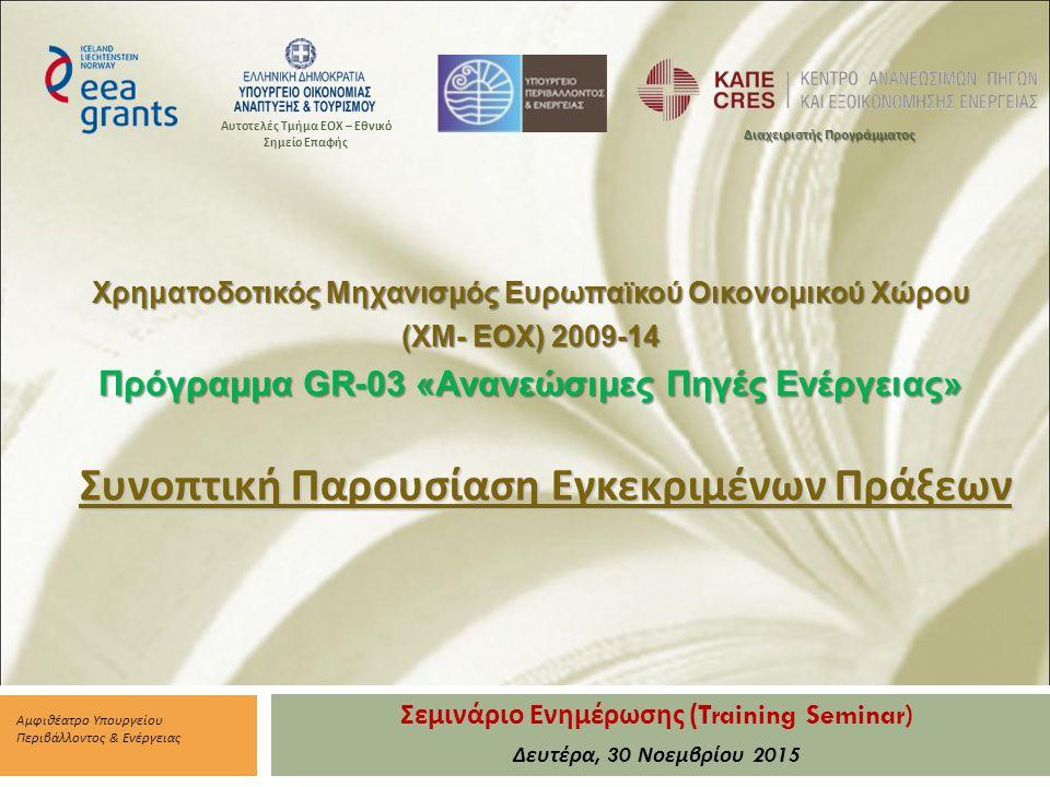 Σεμινάριο Ενημέρωσης (Training Seminar) Δευτέρα, 30 Νοεμβρίου 2015 Αμφιθέατρο Υπουργείου Περιβάλλοντος & Ενέργειας Διαχειριστής Προγράμματος Αυτοτελές Τμήμα ΕΟΧ – Εθνικό Σημείο Επαφής Χρηματοδοτικός Μηχανισμός Ευρωπαϊκού Οικονομικού Χώρου (XM- EOX) 2009-14 Πρόγραμμα GR-03 «Ανανεώσιμες Πηγές Ενέργειας» Συνοπτική Παρουσίαση Εγκεκριμένων Πράξεων