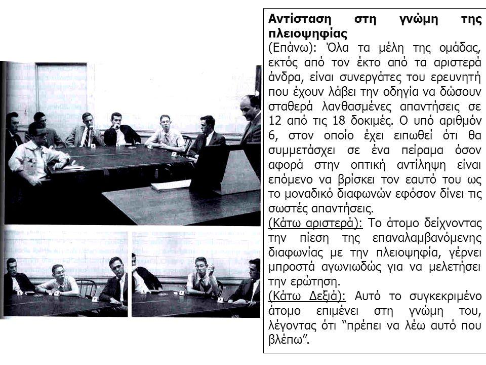Αντίσταση στη γνώμη της πλειοψηφίας (Επάνω): Όλα τα μέλη της ομάδας, εκτός από τον έκτο από τα αριστερά άνδρα, είναι συνεργάτες του ερευνητή που έχουν λάβει την οδηγία να δώσουν σταθερά λανθασμένες απαντήσεις σε 12 από τις 18 δοκιμές.