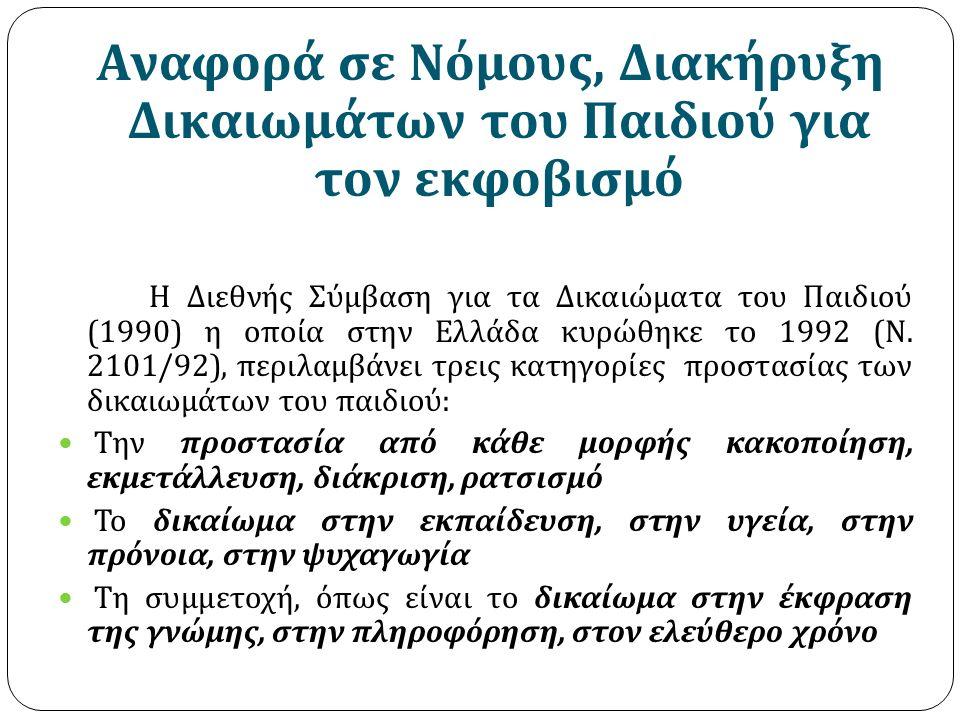 Αναφορά σε Νόμους, Διακήρυξη Δικαιωμάτων του Παιδιού για τον εκφοβισμό Η Διεθνής Σύμβαση για τα Δικαιώματα του Παιδιού (1990) η οποία στην Ελλάδα κυρώ