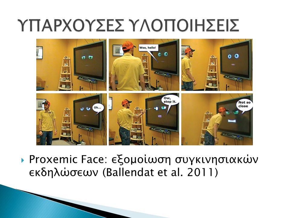  Proxemic Face: εξομοίωση συγκινησιακών εκδηλώσεων (Ballendat et al. 2011)