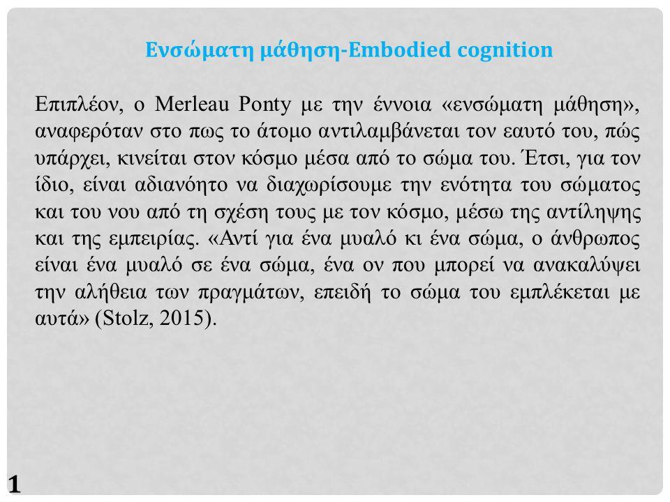 10 Ενσώματη μάθηση-Embodied cognition Επιπλέον, ο Merleau Ponty με την έννοια «ενσώματη μάθηση», αναφερόταν στο πως το άτομο αντιλαμβάνεται τον εαυτό του, πώς υπάρχει, κινείται στον κόσμο μέσα από το σώμα του.