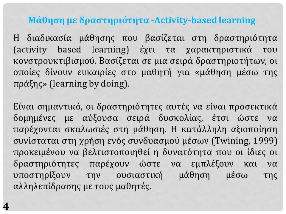 5 Μάθηση με δραστηριότητα -Activity-based learning Σε μια διδασκαλία η οποία βασίζεται στις δραστηριότητες και η οποία υιοθετεί ρητά μια κονστρουκτιβιστική παιδαγωγική, η ανάπτυξη της μαθητοκεντρικής μάθησης σημαίνει μια αλλαγή στην ισορροπία δυνάμεων μεταξύ δασκάλου και μαθητή η οποία απαιτεί προσαρμογές και νέους τρόπους εργασίας, τόσο για τους μαθητές όσο και για τους καθηγητές που τους υποστηρίζουν.