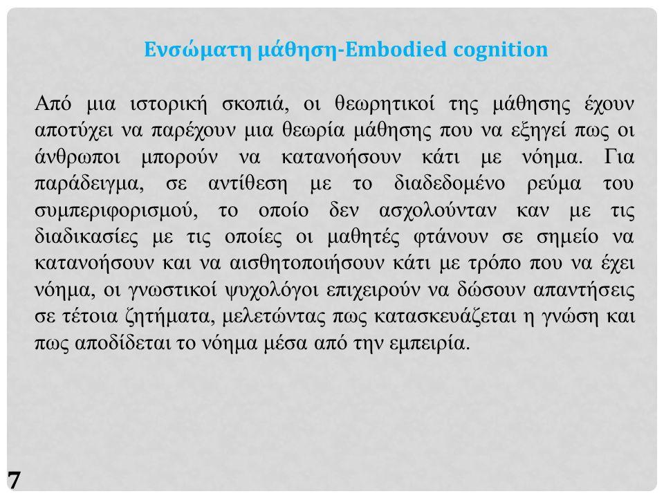 7 Ενσώματη μάθηση-Embodied cognition Από μια ιστορική σκοπιά, οι θεωρητικοί της μάθησης έχουν αποτύχει να παρέχουν μια θεωρία μάθησης που να εξηγεί πως οι άνθρωποι μπορούν να κατανοήσουν κάτι με νόημα.
