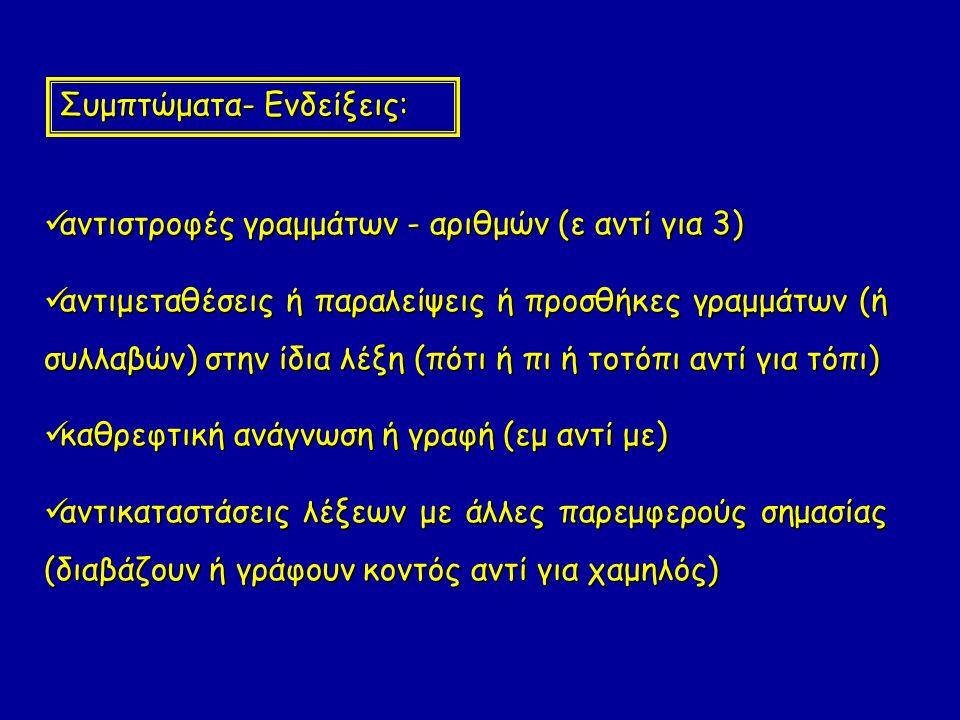 αντιστροφές γραμμάτων - αριθμών (ε αντί για 3) αντιστροφές γραμμάτων - αριθμών (ε αντί για 3) αντιμεταθέσεις ή παραλείψεις ή προσθήκες γραμμάτων (ή συλλαβών) στην ίδια λέξη (πότι ή πι ή τοτόπι αντί για τόπι) αντιμεταθέσεις ή παραλείψεις ή προσθήκες γραμμάτων (ή συλλαβών) στην ίδια λέξη (πότι ή πι ή τοτόπι αντί για τόπι) καθρεφτική ανάγνωση ή γραφή (εμ αντί με) καθρεφτική ανάγνωση ή γραφή (εμ αντί με) αντικαταστάσεις λέξεων με άλλες παρεμφερούς σημασίας (διαβάζουν ή γράφουν κοντός αντί για χαμηλός) αντικαταστάσεις λέξεων με άλλες παρεμφερούς σημασίας (διαβάζουν ή γράφουν κοντός αντί για χαμηλός) Συμπτώματα- Ενδείξεις: