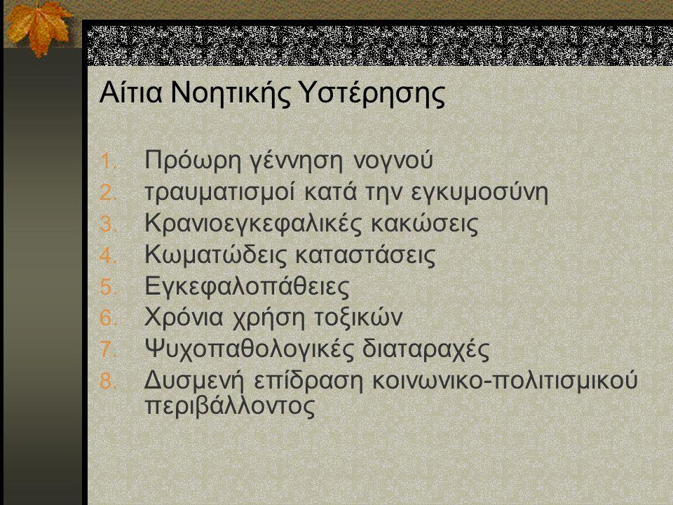 Αίτια Νοητικής Υστέρησης 1. Πρόωρη γέννηση νογνού 2.