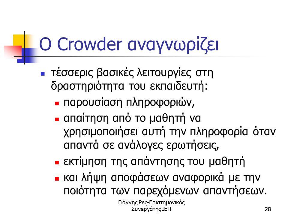 Γιάννης Ρες-Επιστημονικός Συνεργάτης ΙΕΠ28 O Crowder αναγνωρίζει τέσσερις βασικές λειτουργίες στη δραστηριότητα του εκπαιδευτή: παρουσίαση πληροφοριών