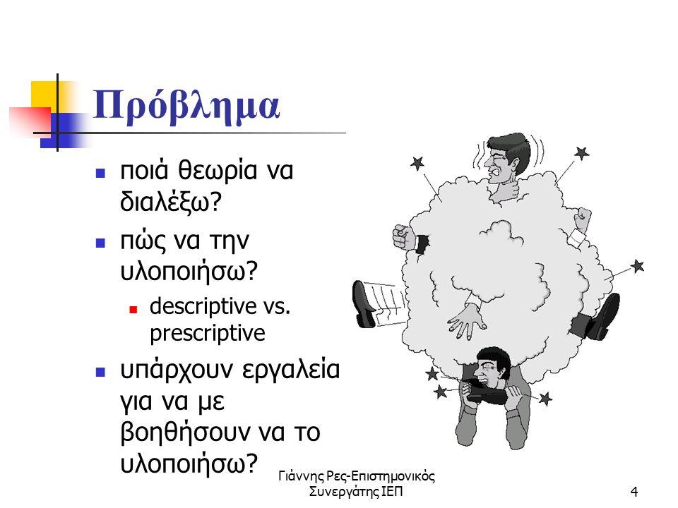 Γιάννης Ρες-Επιστημονικός Συνεργάτης ΙΕΠ4 Πρόβλημα ποιά θεωρία να διαλέξω? πώς να την υλοποιήσω? descriptive vs. prescriptive υπάρχουν εργαλεία για να