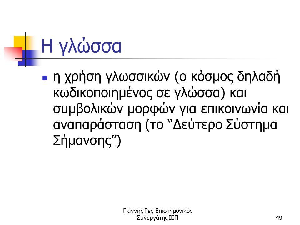 Γιάννης Ρες-Επιστημονικός Συνεργάτης ΙΕΠ49 Η γλώσσα η χρήση γλωσσικών (ο κόσμος δηλαδή κωδικοποιημένος σε γλώσσα) και συμβολικών μορφών για επικοινωνί