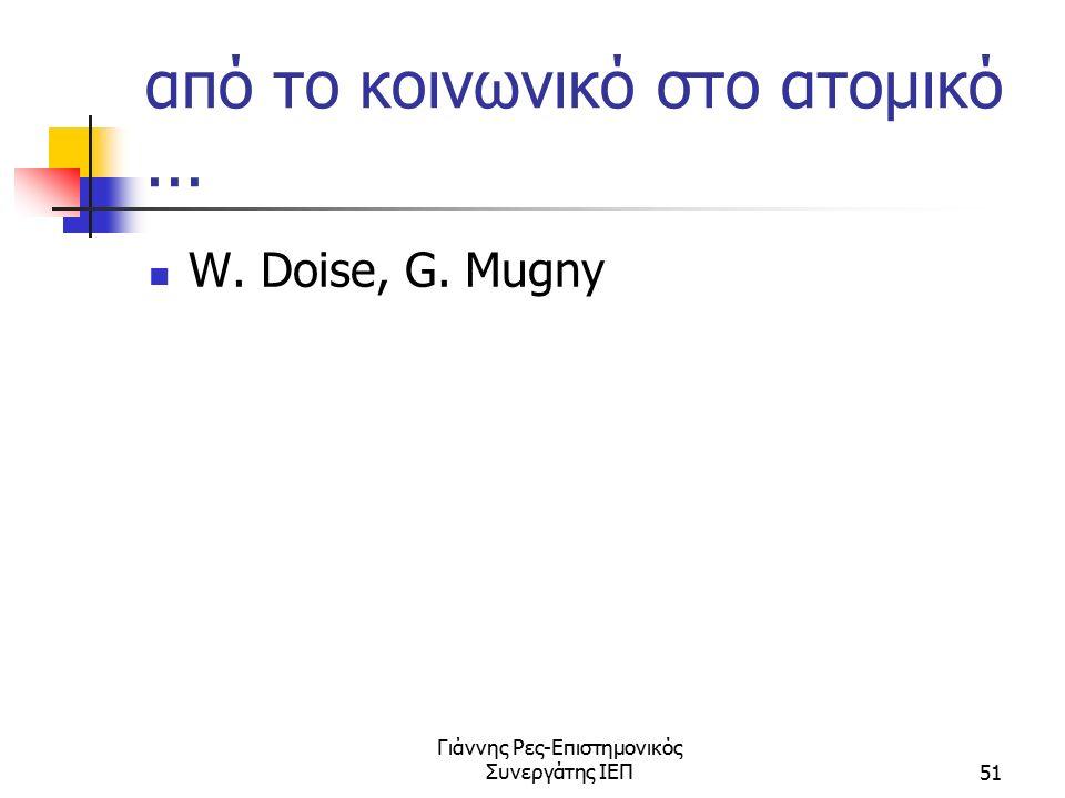 Γιάννης Ρες-Επιστημονικός Συνεργάτης ΙΕΠ51 από το κοινωνικό στο ατομικό... W. Doise, G. Mugny