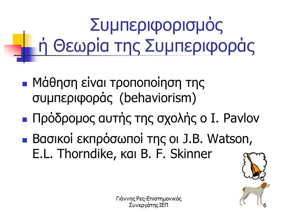 Γιάννης Ρες-Επιστημονικός Συνεργάτης ΙΕΠ6 Συμπεριφορισμός ή Θεωρία της Συμπεριφοράς Μάθηση είναι τροποποίηση της συμπεριφοράς (behaviorism) Πρόδρομος