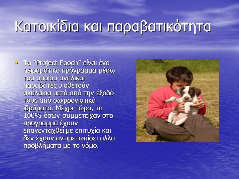 Κατοικίδια και παραβατικότητα Το Project Pooch είναι ένα πειραματικό πρόγραμμα μέσω του οποίου ανήλικοι παραβάτες υιοθετούν σκυλάκια μετά από την έξοδό τους από σωφρονιστικά ιδρύματα.