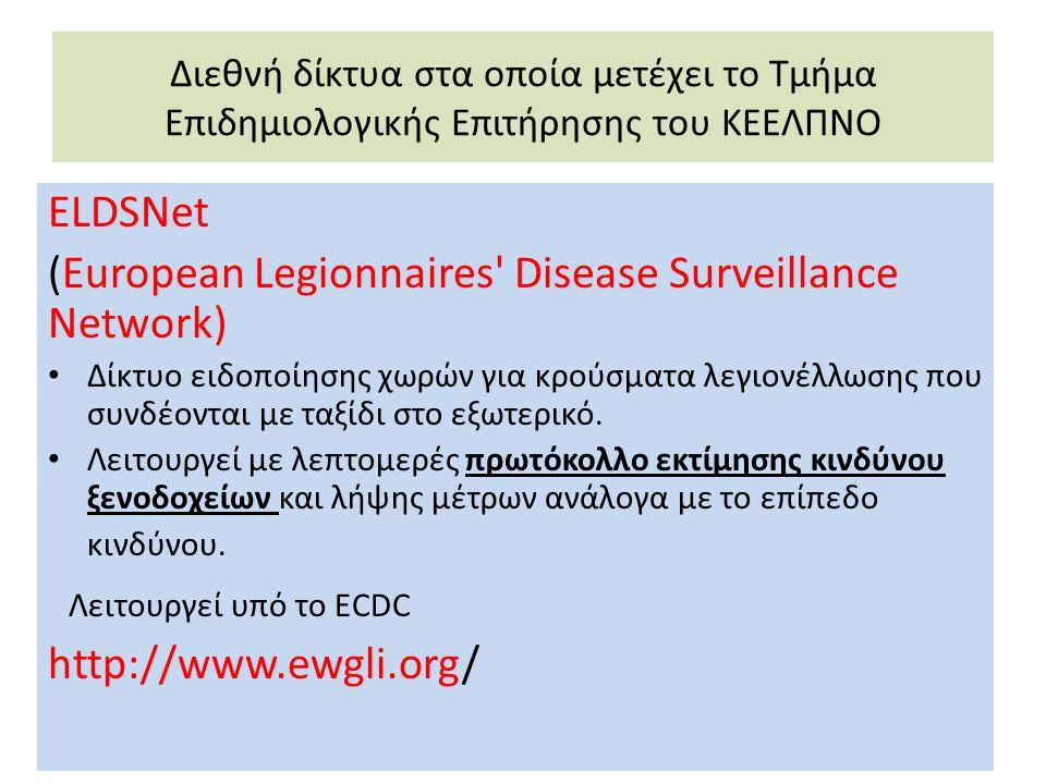 Διεθνή δίκτυα στα οποία μετέχει το Τμήμα Επιδημιολογικής Επιτήρησης του ΚΕΕΛΠΝΟ ELDSNet (European Legionnaires Disease Surveillance Network) Δίκτυο ειδοποίησης χωρών για κρούσματα λεγιονέλλωσης που συνδέονται με ταξίδι στο εξωτερικό.