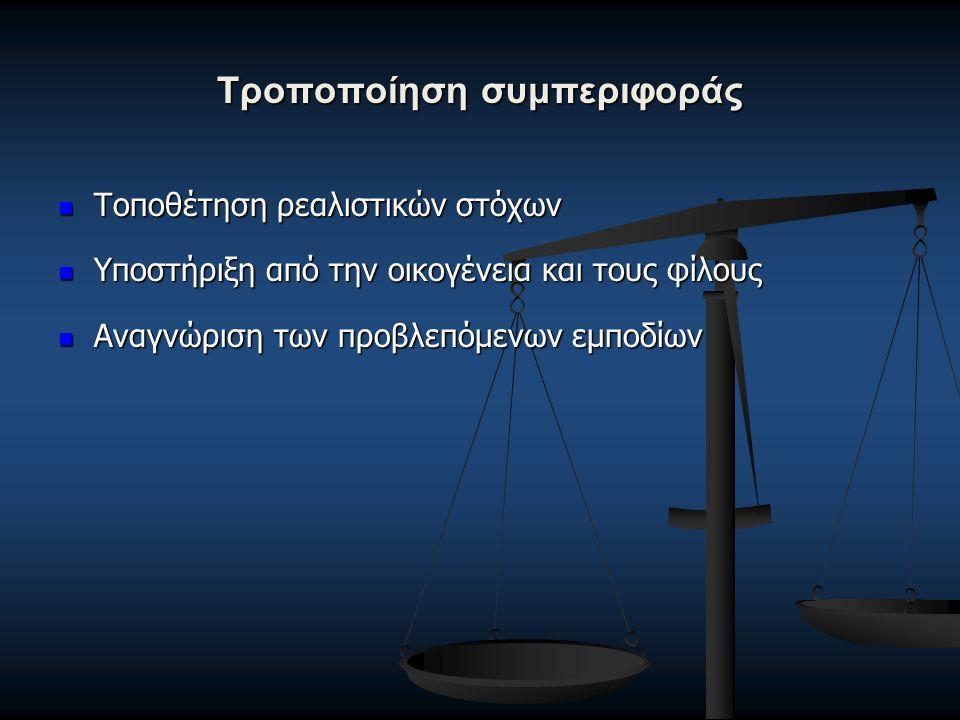 Τροποποίηση συμπεριφοράς Τοποθέτηση ρεαλιστικών στόχων Τοποθέτηση ρεαλιστικών στόχων Υποστήριξη από την οικογένεια και τους φίλους Υποστήριξη από την οικογένεια και τους φίλους Αναγνώριση των προβλεπόμενων εμποδίων Αναγνώριση των προβλεπόμενων εμποδίων