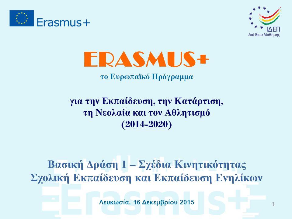 ERASMUS+ το Ευρω π αϊκό Πρόγραμμα για την Εκ π αίδευση, την Κατάρτιση, τη Νεολαία και τον Αθλητισμό (2014-2020) Βασική Δράση 1 – Σχέδια Κινητικότητας Σχολική Εκ π αίδευση και Εκ π αίδευση Ενηλίκων Λευκωσία, 16 Δεκεμβρίου 2015 1