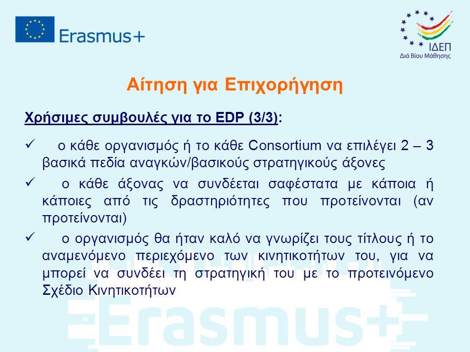 Αίτηση για Επιχορήγηση Χρήσιμες συμβουλές για το EDP (3/3): ο κάθε οργανισμός ή το κάθε Consortium να επιλέγει 2 – 3 βασικά πεδία αναγκών/βασικούς στρατηγικούς άξονες ο κάθε άξονας να συνδέεται σαφέστατα με κάποια ή κάποιες από τις δραστηριότητες που προτείνονται (αν προτείνονται) ο οργανισμός θα ήταν καλό να γνωρίζει τους τίτλους ή το αναμενόμενο περιεχόμενο των κινητικοτήτων του, για να μπορεί να συνδέει τη στρατηγική του με το προτεινόμενο Σχέδιο Κινητικοτήτων