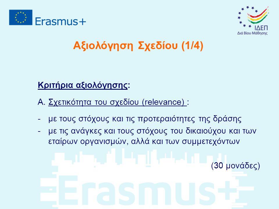 Αξιολόγηση Σχεδίου (1/4) Κριτήρια αξιολόγησης: Α.