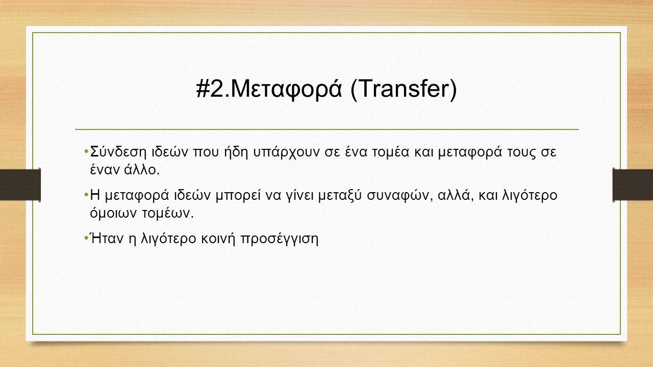 #2.Μεταφορά (Transfer) Σύνδεση ιδεών που ήδη υπάρχουν σε ένα τομέα και μεταφορά τους σε έναν άλλο.