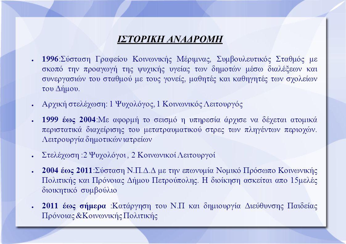 ΙΣΤΟΡΙΚΗ ΑΝΑΔΡΟΜΗ ● 1996:Σύσταση Γραφείου Κοινωνικής Μέριμνας, Συμβουλευτικός Σταθμός με σκοπό την προαγωγή της ψυχικής υγείας των δημοτών μέσω διαλέξεων και συνεργασιών του σταθμού με τους γονείς, μαθητές και καθηγητές των σχολείων του Δήμου.