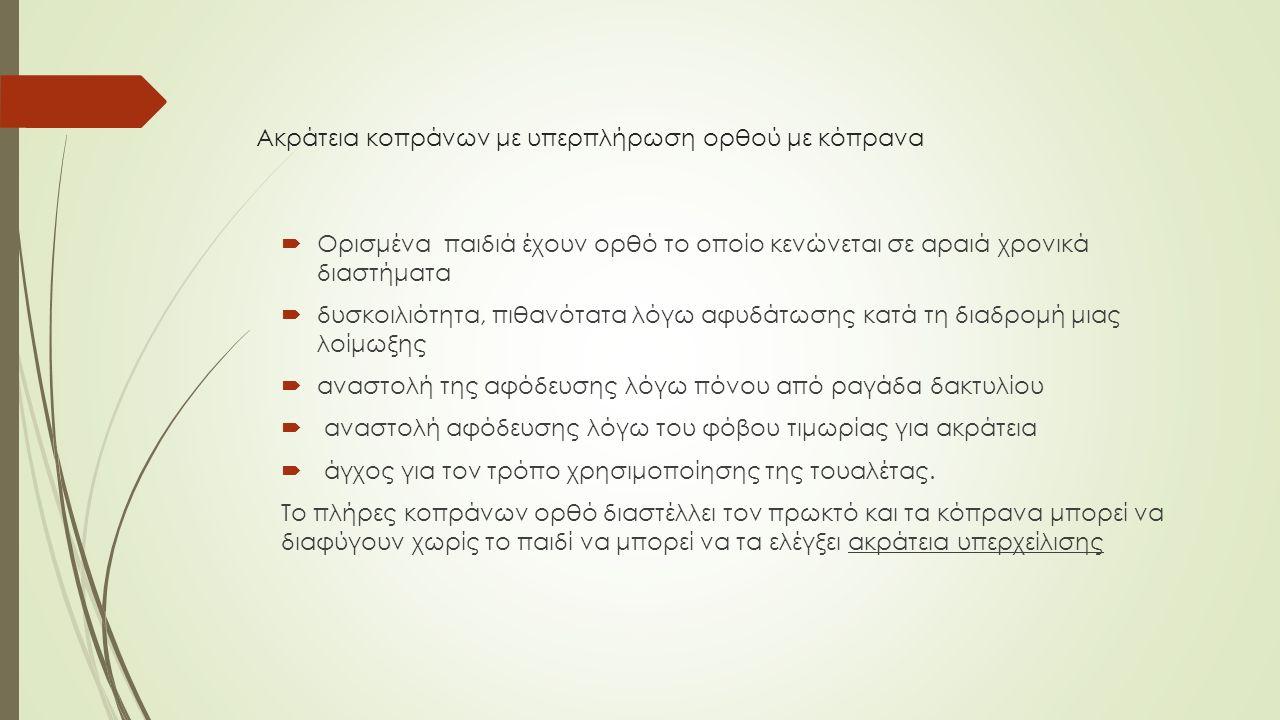 Εγκόπριση μπορεί να παρατηρηθεί σε συνδυασμό με κενό ορθό.