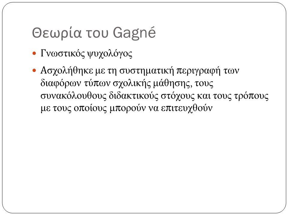 Θεωρία του Gagné Γνωστικός ψυχολόγος Ασχολήθηκε με τη συστηματική περιγραφή των διαφόρων τύπων σχολικής μάθησης, τους συνακόλουθους διδακτικούς στόχους και τους τρόπους με τους οποίους μπορούν να επιτευχθούν