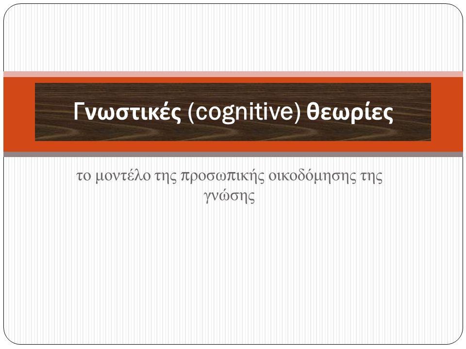 το μοντέλο της προσωπικής οικοδόμησης της γνώσης Γνωστικές (cognitive) θεωρίες