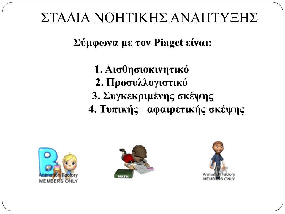 Σύμφωνα με τον Piaget είναι: 1. Αισθησιοκινητικό 2.