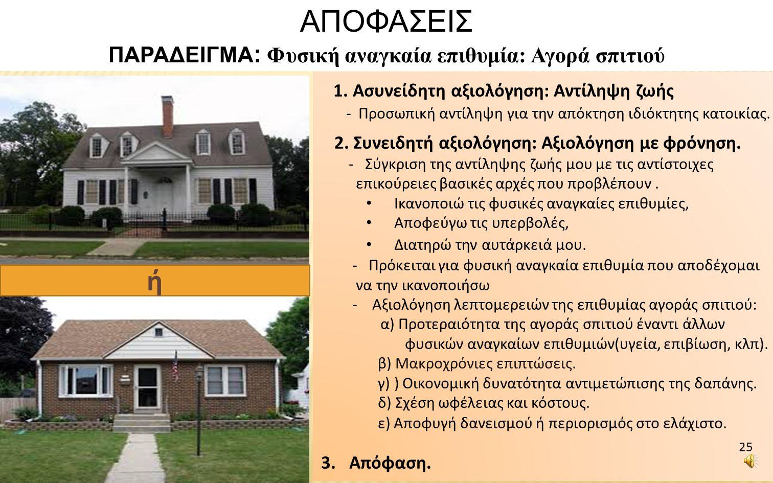 1. Ασυνείδητη αξιολόγηση: Αντίληψη ζωής - Προσωπική αντίληψη για την απόκτηση ιδιόκτητης κατοικίας.
