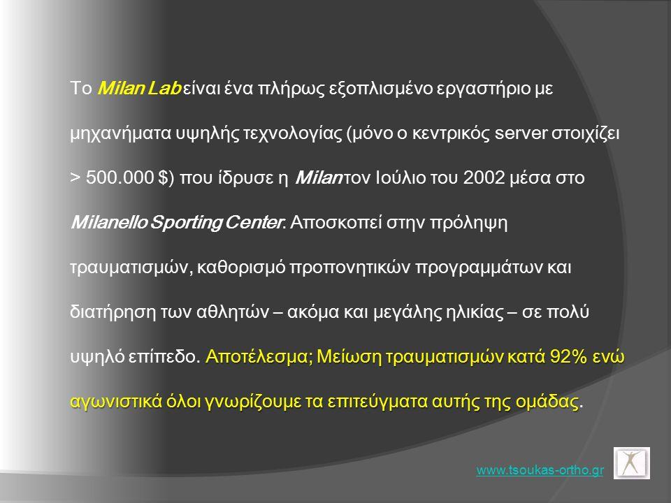 Αποτέλεσμα; Μείωση τραυματισμών κατά 92% ενώ αγωνιστικά όλοι γνωρίζουμε τα επιτεύγματα αυτής της ομάδας Το Milan Lab είναι ένα πλήρως εξοπλισμένο εργαστήριο με μηχανήματα υψηλής τεχνολογίας (μόνο ο κεντρικός server στοιχίζει > 500.000 $) που ίδρυσε η Milan τον Ιούλιο του 2002 μέσα στο Milanello Sporting Center.