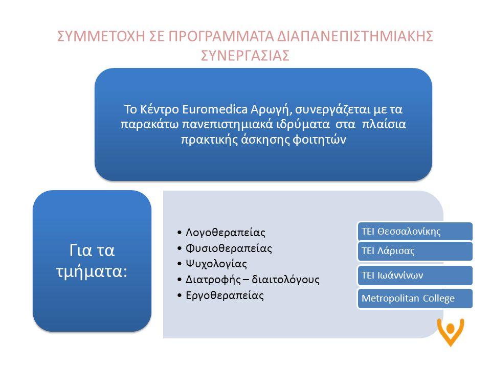 Το Κέντρο Euromedica Αρωγή, συνεργάζεται με τα παρακάτω πανεπιστημιακά ιδρύματα στα πλαίσια πρακτικής άσκησης φοιτητών Λογοθεραπείας Φυσιοθεραπείας Ψυχολογίας Διατροφής – διαιτολόγους Εργοθεραπείας Για τα τμήματα: ΣΥΜΜΕΤΟΧΗ ΣΕ ΠΡΟΓΡΑΜΜΑΤΑ ΔΙΑΠΑΝΕΠΙΣΤΗΜΙΑΚΗΣ ΣΥΝΕΡΓΑΣΙΑΣ ΤΕΙ ΘεσσαλονίκηςΤΕΙ ΛάρισαςΤΕΙ ΙωάννίνωνMetropolitan College