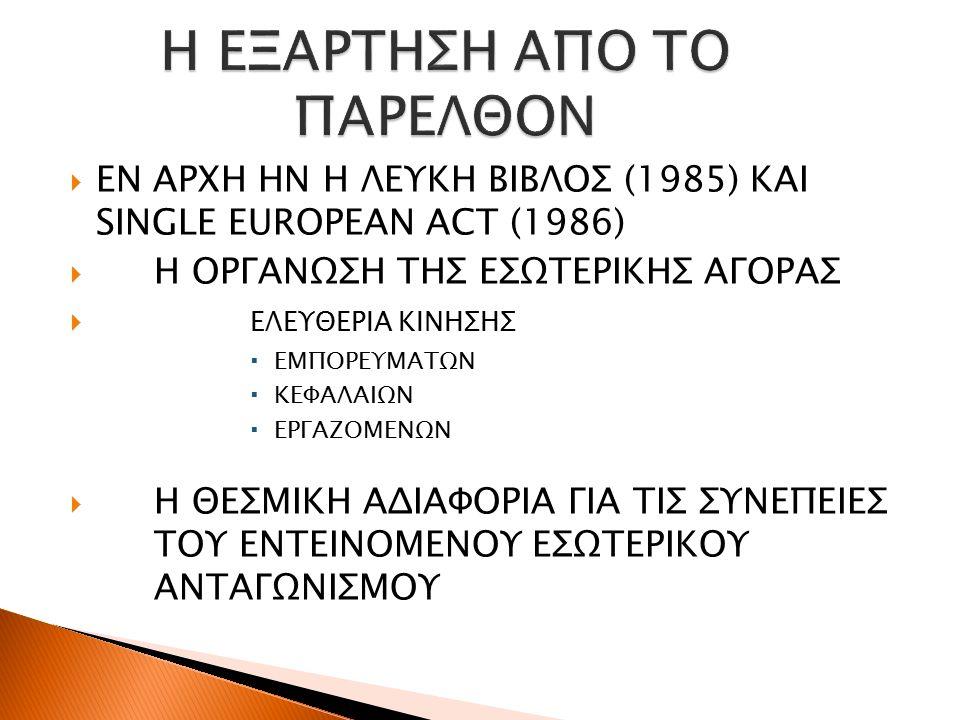  ΕΝ ΑΡΧΗ ΗΝ Η ΛΕΥΚΗ ΒΙΒΛΟΣ (1985) ΚΑΙ SINGLE EUROPEAN ACT (1986)  Η ΟΡΓΑΝΩΣΗ ΤΗΣ ΕΣΩΤΕΡΙΚΗΣ ΑΓΟΡΑΣ  ΕΛΕΥΘΕΡΙΑ ΚΙΝΗΣΗΣ  ΕΜΠΟΡΕΥΜΑΤΩΝ  ΚΕΦΑΛΑΙΩΝ  ΕΡΓΑΖΟΜΕΝΩΝ  Η ΘΕΣΜΙΚΗ ΑΔΙΑΦΟΡΙΑ ΓΙΑ ΤΙΣ ΣΥΝΕΠΕΙΕΣ ΤΟΥ ΕΝΤΕΙΝΟΜΕΝΟΥ ΕΣΩΤΕΡΙΚΟΥ ΑΝΤΑΓΩΝΙΣΜΟΥ