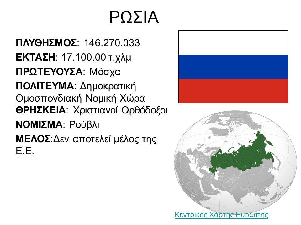 ΡΩΣΙΑ ΠΛΥΘΗΣΜΟΣ: 146.270.033 ΕΚΤΑΣΗ: 17.100.00 τ.χλμ ΠΡΩΤΕΥΟΥΣΑ: Μόσχα ΠΟΛΙΤΕΥΜΑ: Δημοκρατική Ομοσπονδιακή Νομική Χώρα ΘΡΗΣΚΕΙΑ: Χριστιανοί Ορθόδοξοι ΝΟΜΙΣΜΑ: Ρούβλι ΜΕΛΟΣ:Δεν αποτελεί μέλος της Ε.Ε.